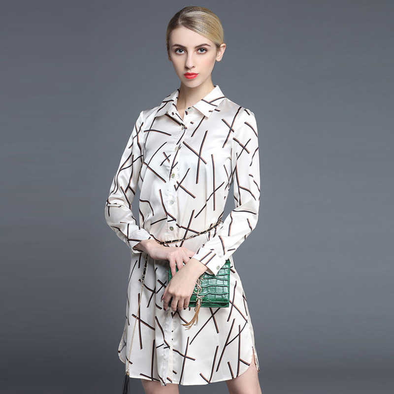 2016 Spring Summer Painting Dress Long-silk-summer-dress Office Women High Quality Fashion Shirtdress  Wholesale-dresses