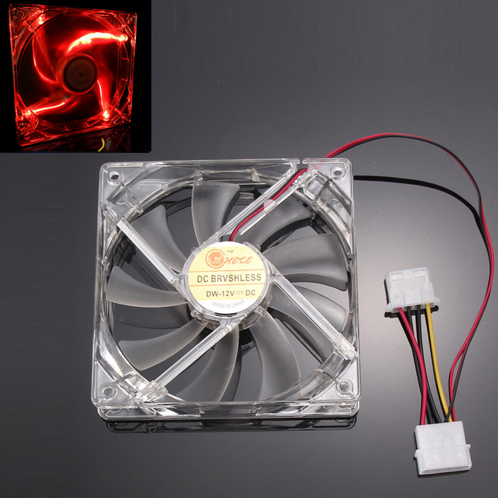 Malloom 2016 Top Sale Red Quad 4-LED Light Neon Clear 120mm PC Computer Case Cooling Fan Mod Cooler Accessories Free shipping(China (Mainland))
