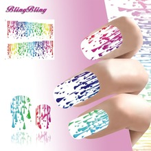 2PCS New Nail Sticker Colorful Spilled Paint Nail Art Water Transfer Foil Beauty Nail Wraps Manicure Decoration For Nails(China (Mainland))