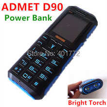 100% Original ADMET D90 Power Bank Phone 2 Big Flashlight Loud Sound Dual Sim Old Man People Senior Phone Russian Keyboard (China (Mainland))