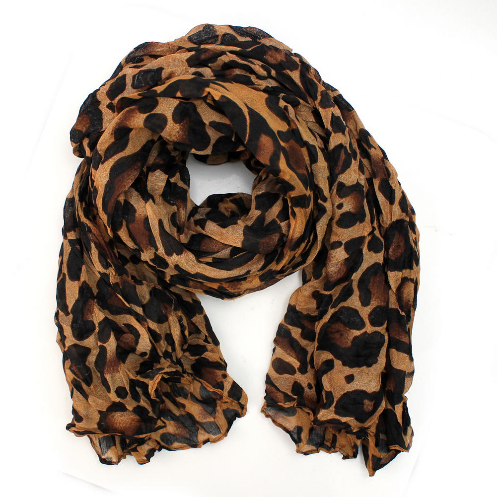 Fashion Women Ladies Brown Leopard Print Soft Long Stole Scarf Shawl Pashmina Top(China (Mainland))