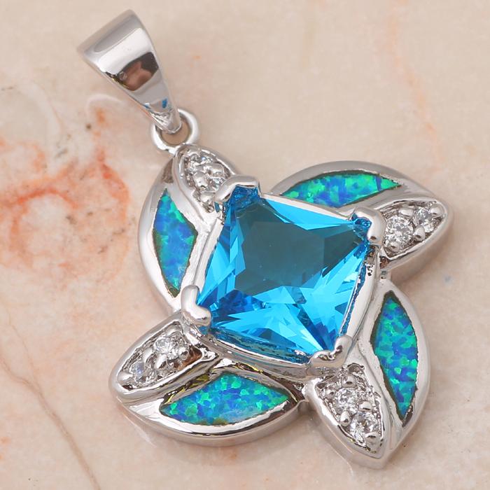 Anniversary Birthday Gifts Hot selling ! AAA BlueTopaz Flower blue Fire Opal jewelry 925 Silver Pendants Fashion jewelry OP426A(China (Mainland))