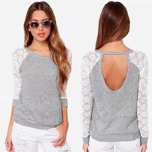 Nuevo 2015 marca moda mujer de manga larga atractiva del cordón del ganchillo camiseta bordado de punto delgado novedad Tops más el tamaño S-XXXL