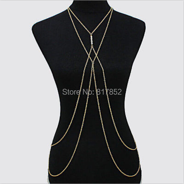 NEW STYLE BO-09 WOMEN GOLD PLATED CHAINS SMALL IMITATION PEARLS SIMPLE BIKINI BODY JEWELRY 2 COLORS - Jack Fashion Co.,Ltd store