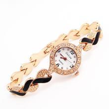 Luxury Brand Rose Gold Tone Watch Women Ladies Crystal Quartz Wristwatches Clock Dress Relogio Feminino GO123