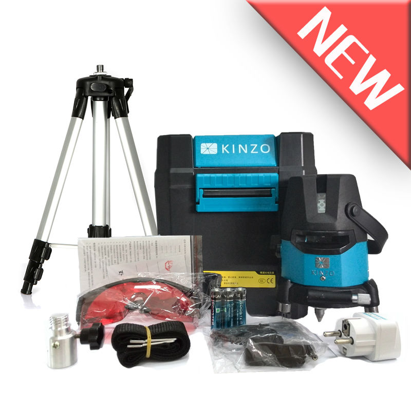 Free shipping Kinzo new launch laser line cross line self-leveling 360 degree rotary laser level 4V1H 3 points(China (Mainland))
