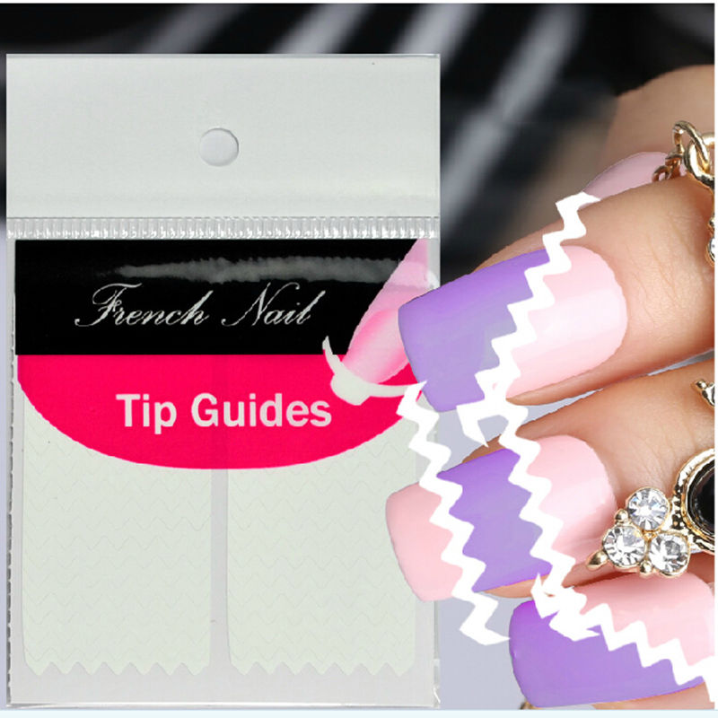 1 Sheet Wave Edge Nails Sticker Tips Guide French Manicure Nail Art Decals Form Fringe Guides DIY Sencil Styling Beauty Tools(China (Mainland))
