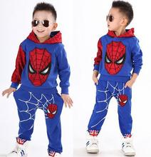 2015 NEW retail spiderman kids clothing sets children fashion cartoon summer shirt + pants boys tees pants suit(China (Mainland))