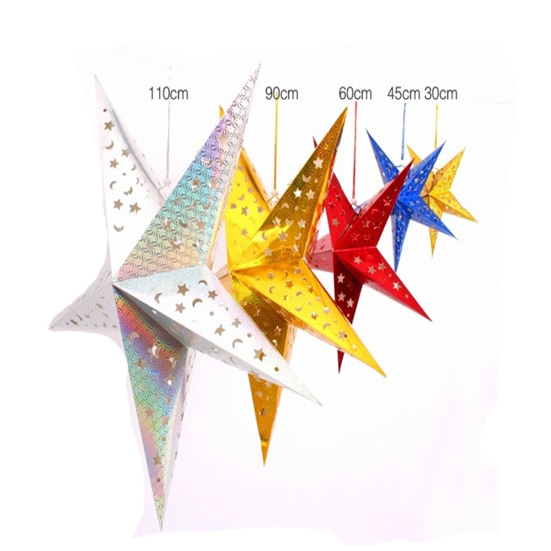 50cm 60cm 90cm christmas decoration laser paper star bar for Star decorations for home