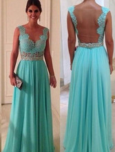 Vnaix B203 2016 Hot Sale Cheap Turquoise Dresses Sheer Neck Back See Through Turquoise Blue Long Bridesmaid Dress(China (Mainland))