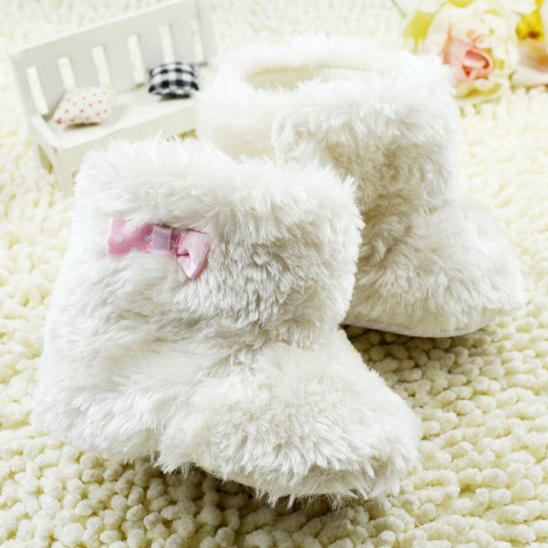 Newborn Infant Bowknot Plush Snow Boots Baby Girls Woolen Yarn Crib Winter Shoes Soft Bootie <br><br>Aliexpress