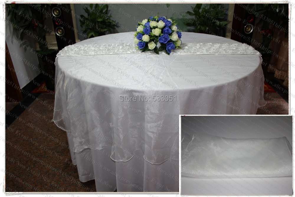 210cm Round NO.13 White Color Organza Table Overlay/Table Cover/Tablecloth For Wedding Party Home Hotel Banquet Decorations(China (Mainland))