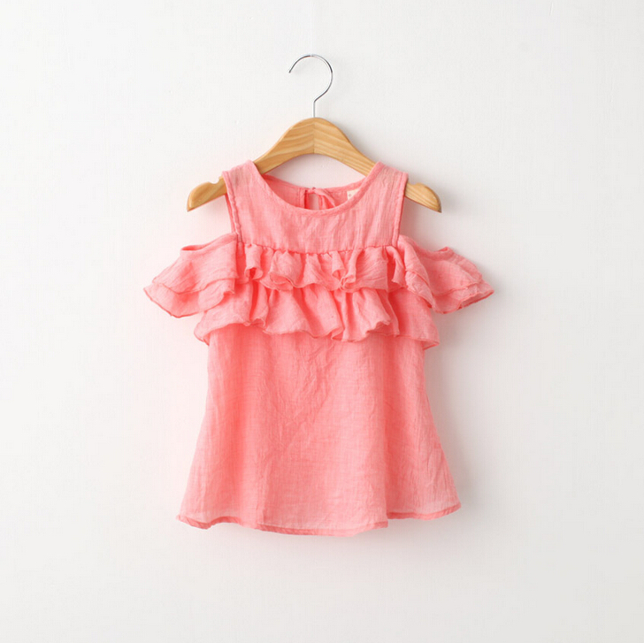 Kids Baby Summer Solid Cake Ruffles Sleeveless Blouse, Princess Boutique Red White Top , 5 pcs/lot, Wholesale, Free Shipping(China (Mainland))