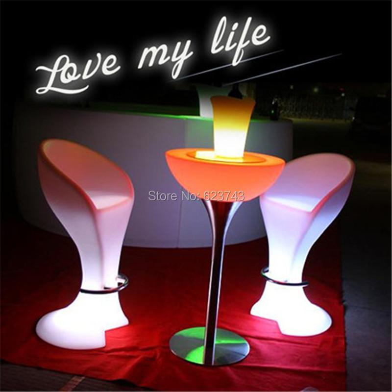 Plastic LED Bar Stool Club High Cocktail Chair Waterproof (3)