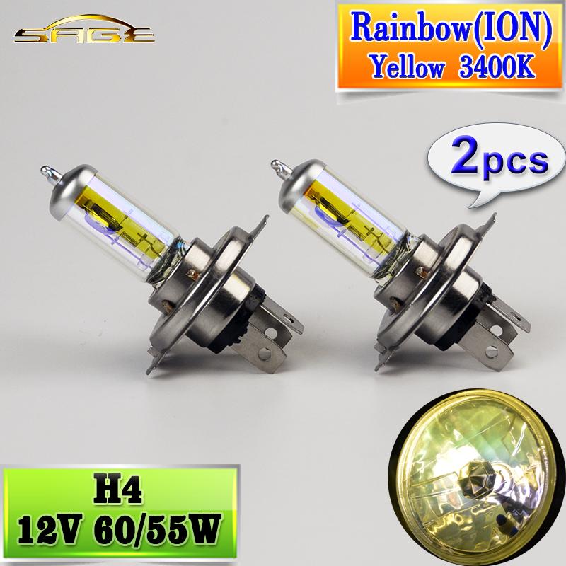 2 PCS(1 Pair) 12V 60/55W H4 Halogen Bulb Rainbow (ION) Gold Yellow 3400K OSRAM type Car HeadLight Glass Auto Lamp(China (Mainland))