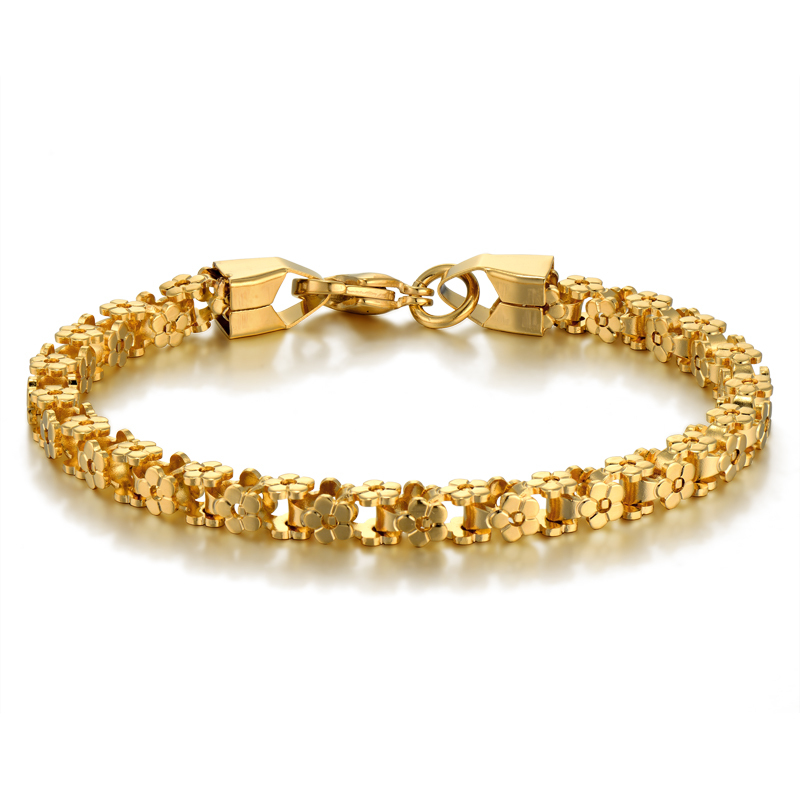 Brand New Trendy Stainless Steel Bike Chain Bracelet for Women/Men 18 K Real Gold Plated Cuff Vintage Jewelry Accessories(China (Mainland))