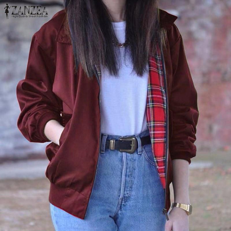 2016 Autumn ZANZEA Women Casual Outwear Long Sleeve Vintage font b Tartan b font Zippered Pockets