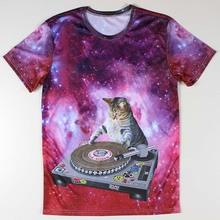 Handsome DJ Cat Men T Shirts Clothing Round Neck Fashion Male 3D Animal Printed t-shirt Short Sleeve S-4XL Summer Boys Tees Tops