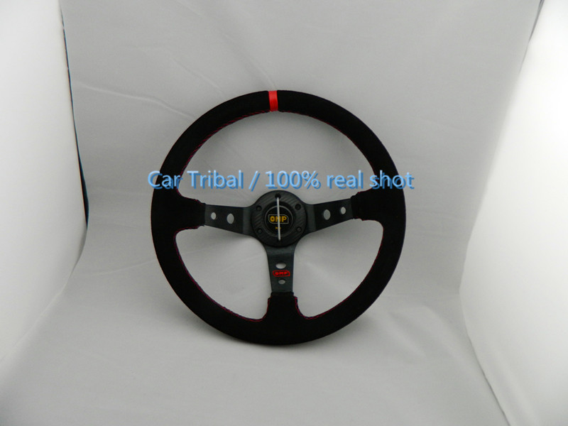 Free Shipping Hot 350mm wheel conversion / racing wheel / OMP modification good quality matte leather steering wheel(China (Mainland))