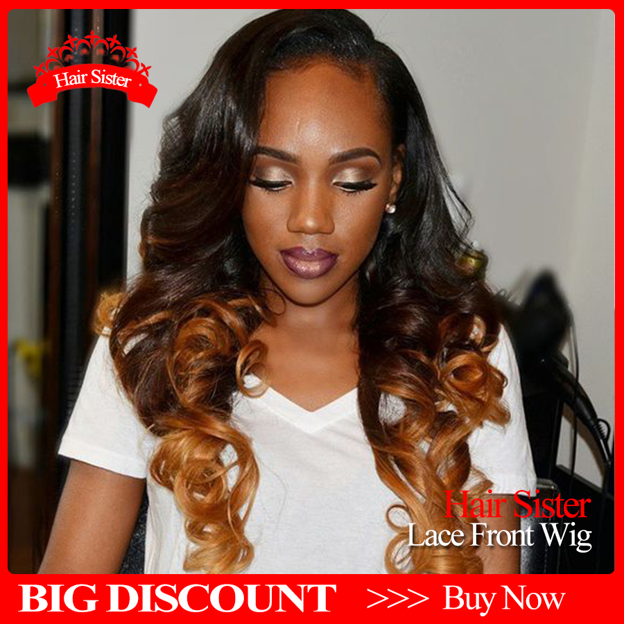 Hot!! Ombre color wave heavy density synthetic lace front wigs glueless lace front wigs for black women free ship synthetic wigs<br><br>Aliexpress