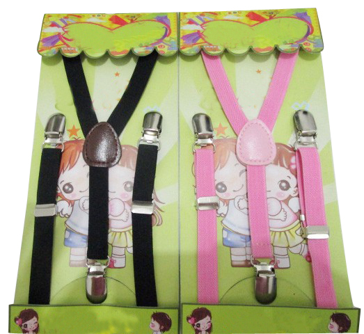 Free Shipping 2016 Fashion Children Adjustable Clip-on Y-back 1.5cm Wide Skinny Plain Black and Pink Color Braces Suspender(China (Mainland))