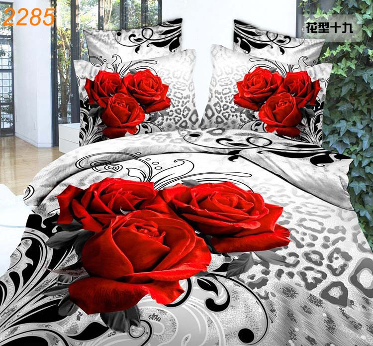 3D bedding sets 8 red roses Bouquet edredon queen quilt cover white red bed linens bedspread bedclothes cheap bed in a bag 2285(China (Mainland))