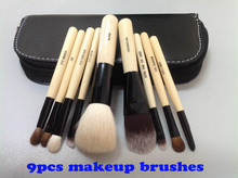 Wholesale New arrival HOT cosmetic Makeup Brush 9 Pieces+with leather Pouch Free shipping