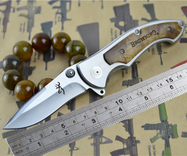Browning 337 Folding Knife With 440C 58HRC Blade Wooden Handle Combat Tactical Camping Knife Pocket Hunting Knife survival Tools(China (Mainland))