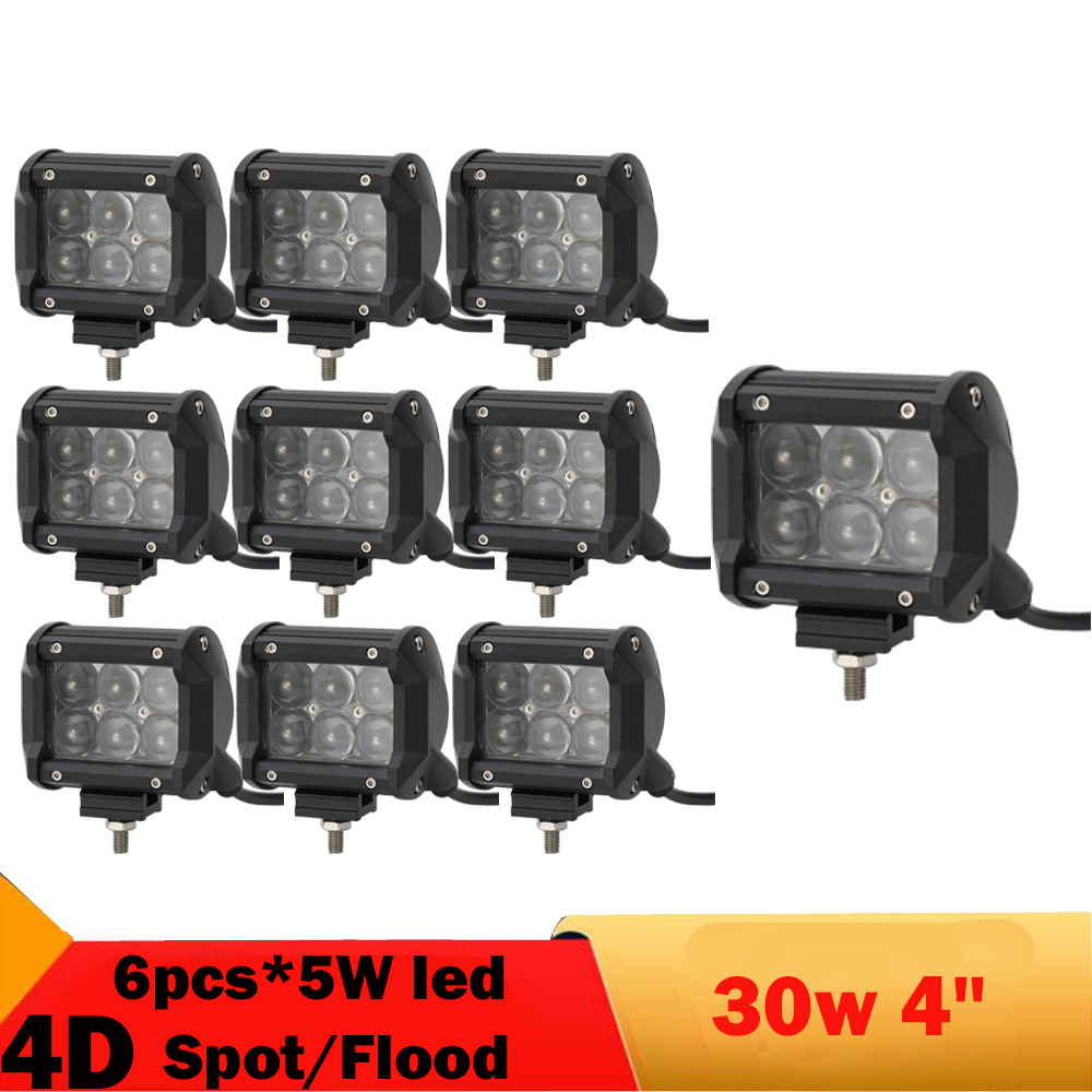 10Pcs 4'' 30W Led Work Light For Ford Exploror Hummer H3T Jeep Wrangler 3000LM Offroad Day Running Light Truck Boat Bus ATV UTB(China (Mainland))