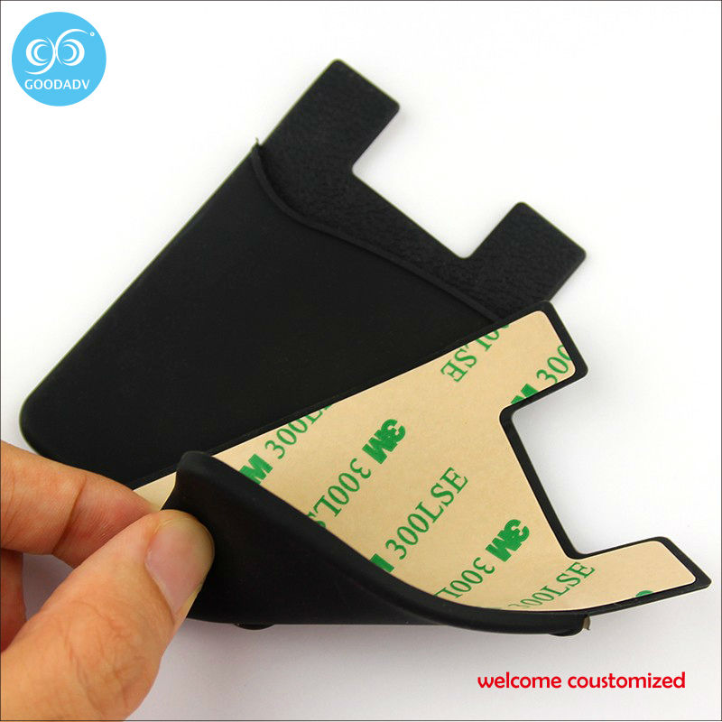 High quality customized 3M sticky cellphone silicone card holder 100pieces/lot free shipping fashion smartphone wallet(China (Mainland))