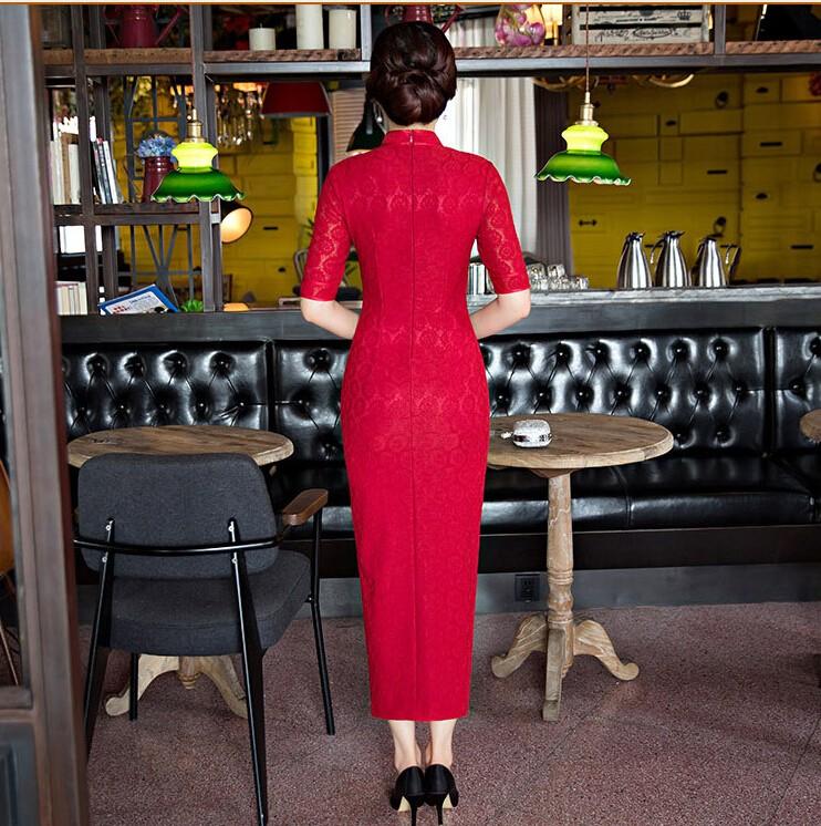 ใหม่ผู้หญิงสีแดงลูกไม้Cheongsamแฟชั่นจีนสไตล์การแต่งกายที่สวยงามบางยาวพิมพ์QipaoขนาดSml XL XXL XXXL F090908 ถูก