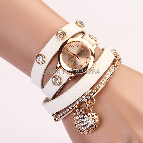 2015 New Fashion Women Dress Watches Leather Strap Wristwatches Ladies Quartz Long Chain Luxury Heart Top Brand Casual XR357(China (Mainland))