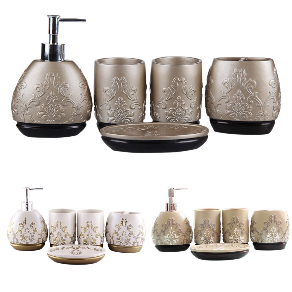 Luxury 5pcs bathroom accessory set brown white champagne for Bathroom accessories set