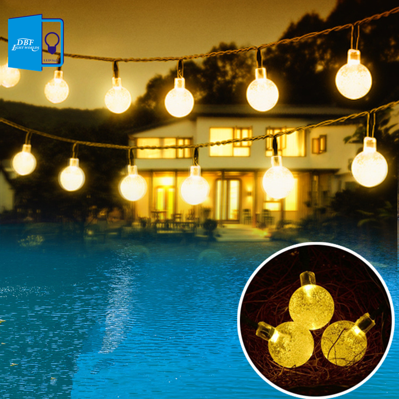 6M 30 LED Crystal Ball Solar Powered Fairy Lights Holiday Christmas LED Solar String Lights for Outdoor Garden Fence Decoration(China (Mainland))