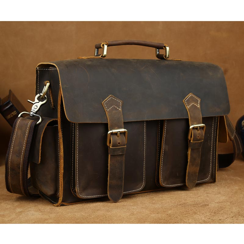 TIDING Cross body shoulder bag 2016 cowhide leather bag for man retro brown briefcase 1088(China (Mainland))