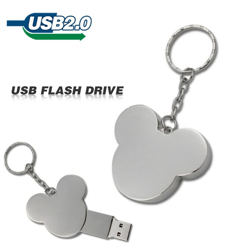 2015 metal 4GB 8GB 16GB 32GB silver usb flash drive cute mickey mouse u disk pen drive pendrive memory stick flash card(China (Mainland))