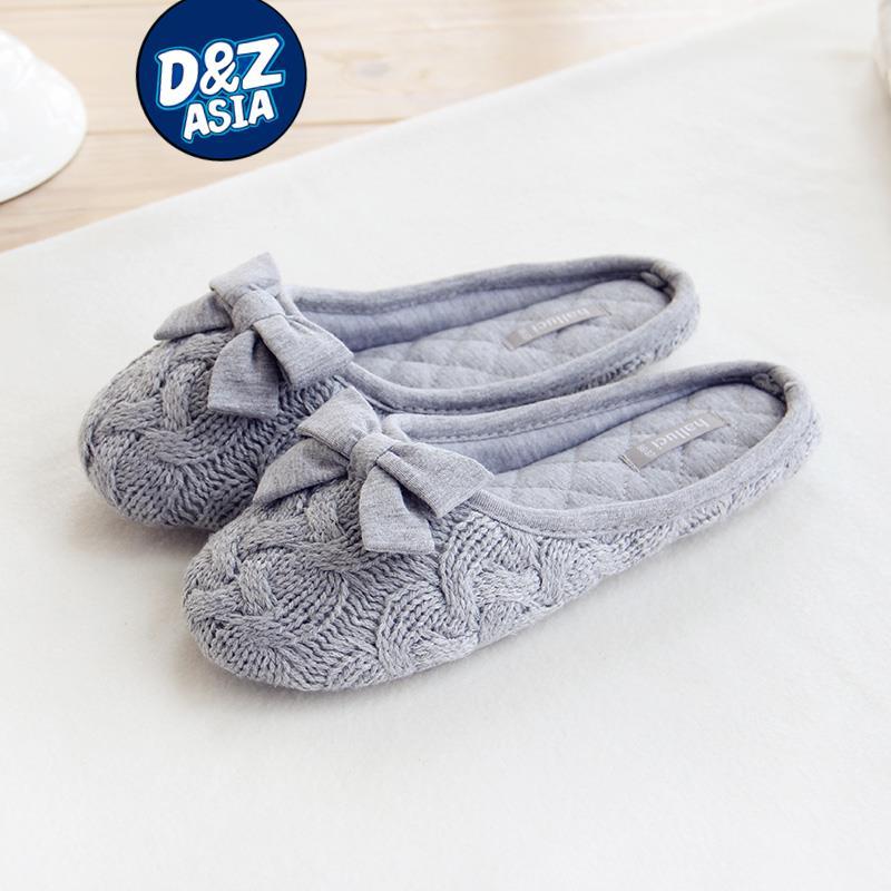 Millffy knit bow slipper household slippers interior non-slip bedroom slippers shoes women slipper(China (Mainland))