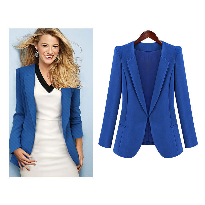 NEW Women Suit Blazer With Lining Spring Autumn Vogue Refresh Lady Blazers Womens Causal Slim Fit Jacket Blue/Black Color S-XLОдежда и ак�е��уары<br><br><br>Aliexpress