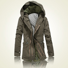 2014 new winter cotton-padded clothes men hooded jacket man with thick dust coat, black army green size:S~XXXL