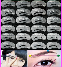Wholesale 24pcs/set Grooming Stencil MakeUp Shaping DIY Beauty Eyebrow Template Stencils Make up Tools Accessories Free shipping