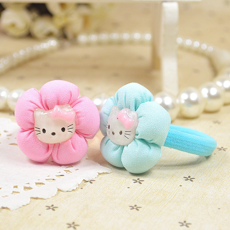 1 PCS Summer style 2015 Kids Children Gilrs Hair Accessories Elastic Hair band Cotton Flowers Multi Hello Kitty Hair Bands(China (Mainland))