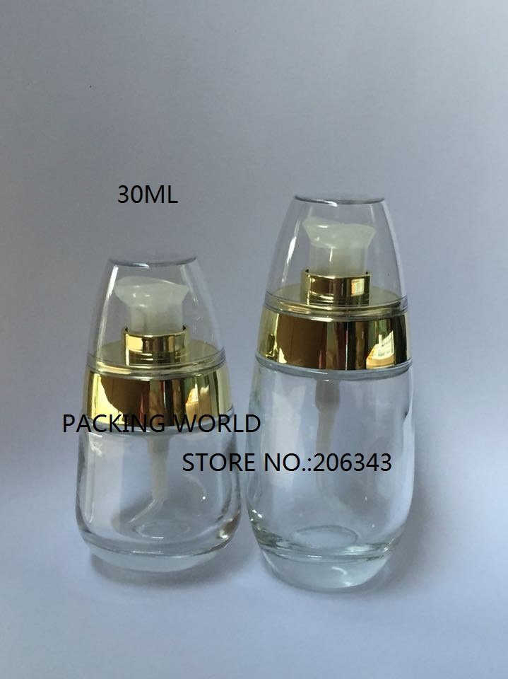 30ml egg shape transparent clear glass bottle gold press pump lotion/serum/foundation/emulsion packing - world -cosmetic and medicine store