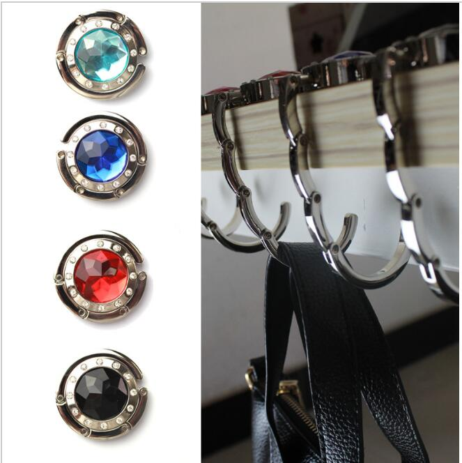 Folding Hook Bag Hanger Holder Foldable For Handbag Bag Purse Clothing Accessories with Rhinestone(China (Mainland))