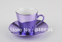 High quality 80CC Set of 2 porcelain with metallic finishing expresso coffee cups & saucers lilac color