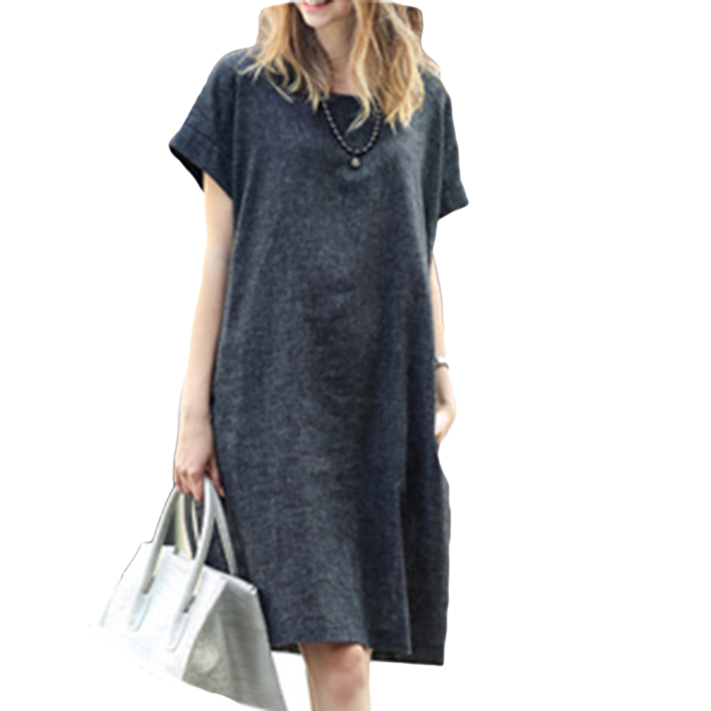 2015 Summer latest Europe fashion Linen dress brand women blue casual short sleeve dresses for lady comfortable wearing B324(China (Mainland))