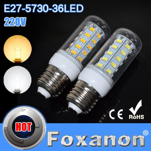 LED Light Led Light E27 5730 220V Corn Bulbs 5730SMD 36LEDs Ultra bright Lamps Energy Efficient Lighting 5pcs/lot(China (Mainland))