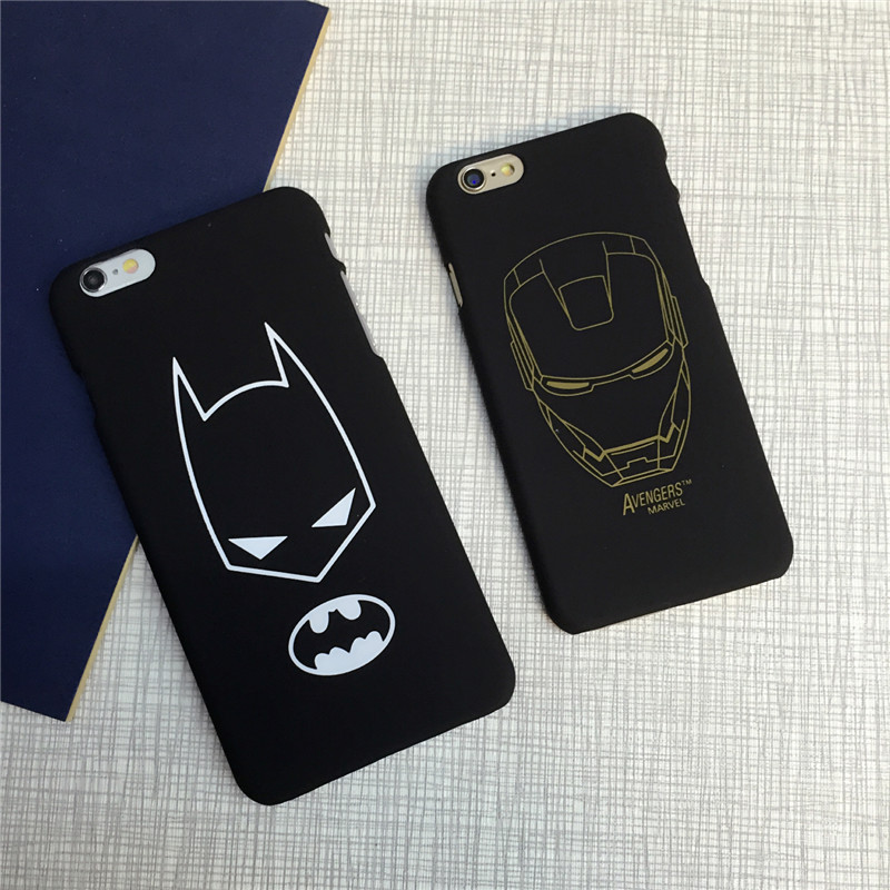 Superhero Batman Avengers Black Matt PC Hard Back Skinny Cover Case For iphone 5S/SE 6/6S 6PLUS Body Protection