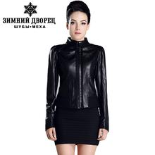 2016 best-selling female leather jacket,black leather,Mandarin Collar,Spring fashion leather jacket,leather jacket brand quality(China (Mainland))