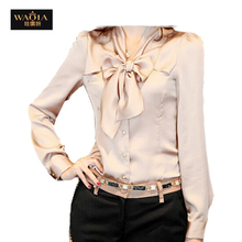 Career Women Blouse 2015 New Promotions Trendy Cozy Women Clothes Plus Size Casual Shirt Ruffles Long Sleeve Bow Ties(China (Mainland))