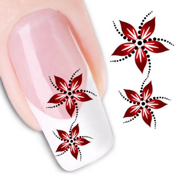 Beautiful Red Flowers Water Transfer Nail Art Sticker DIY Manicure Nail Styling tools Nail Stickers Water Decals XF1459(China (Mainland))